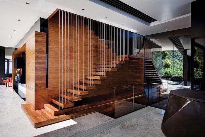 cầu thang gỗ kết hợp dây thép