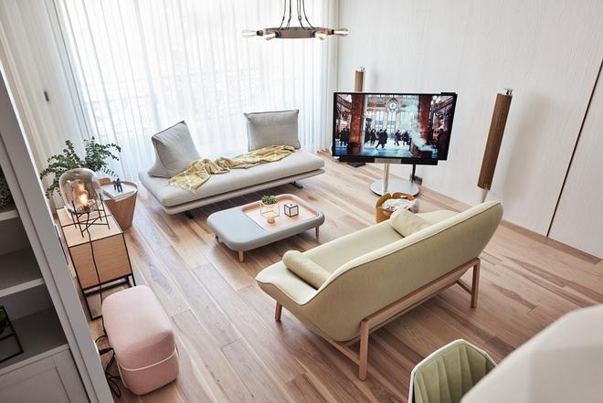 Mẫu thiết kế phòng khách màu pastel