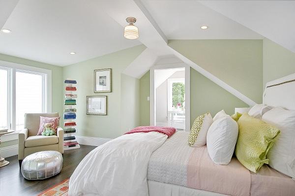 phòng ngủ tông pastel ngọt ngào này.