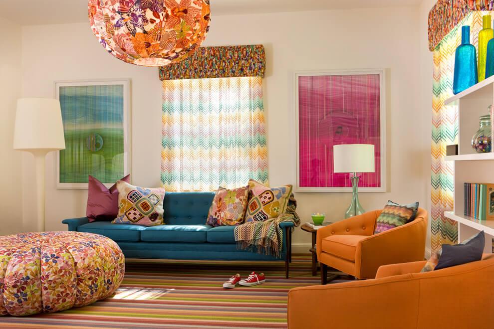 nội thất phòng khách rực rỡ sắc màu