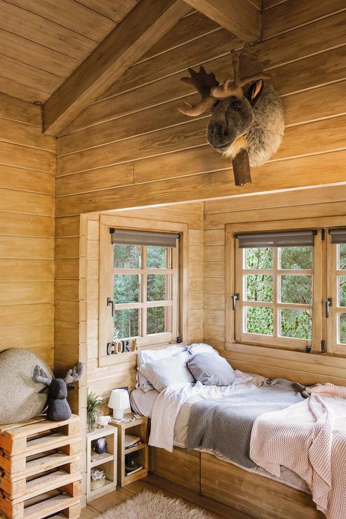 phòng ngủ cho bé trong nhà gỗ