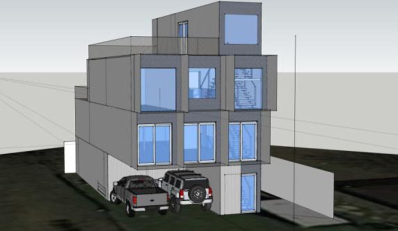 Phối cảnh 3D ngôi nhà container