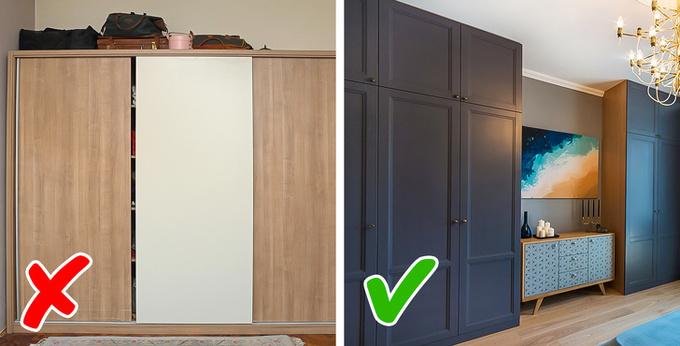 Hình ảnh mẫu tủ không chạm trần màu gỗ và tủ lưu trữ chạm trần có cùng tông màu với tường phòng