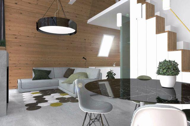Hình ảnh phòng khách liên kề bàn ăn với sofa xám, tường ốp gỗ, đèn trần, cầu thang kết hợp tủ lưu trữ