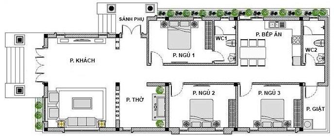 Hình ảnh bản vẽ thiết kế mặt bằng nhà cấp 4 mái Thái