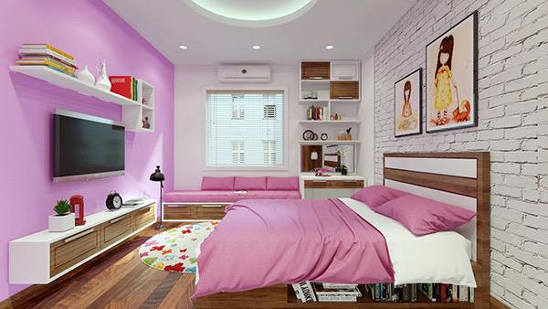 Hình ảnh phòng ngủ của con gái với tường gạch mộc đầu giường sơn trắng, tường đối diện sơn màu tím hồng, tủ kệ tivi, bàn học, giá sách