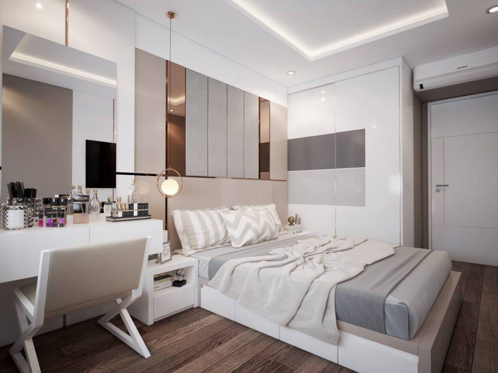 Hình ảnh không gian phòng ngủ master rộng rãi, sử dụng nội thất sang trọng, tông màu trung tính.