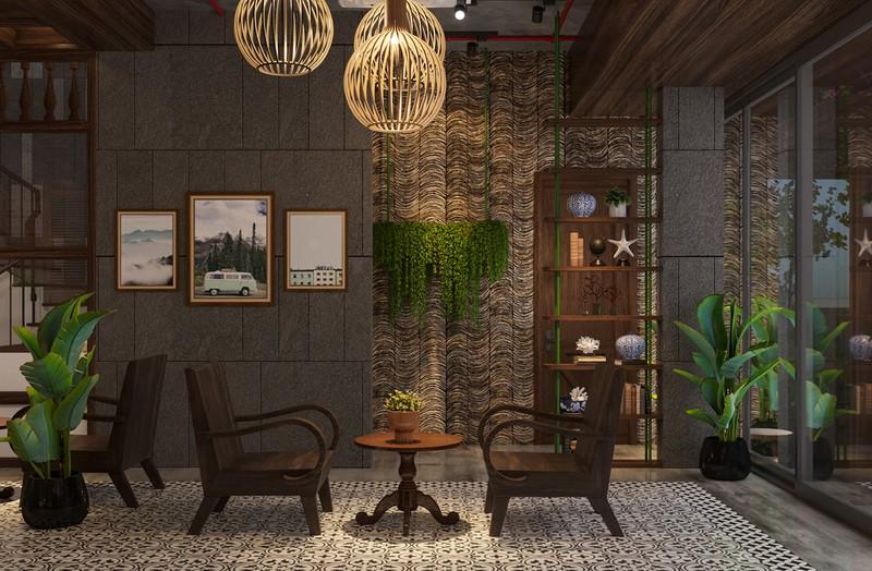 Hình ảnh không gian bên trong quán cà phê tận dụng được tối đa ánh sáng tự nhiên nhờ hệ cửa  trượt bằng kính cao rộng.