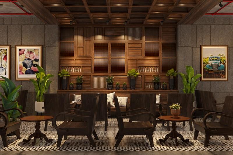 Hình ảnh nội thất trong quán cà phê làm hoàn toàn bằng gỗ tự nhiên an toàn, tạo cảm giác ấm áp.