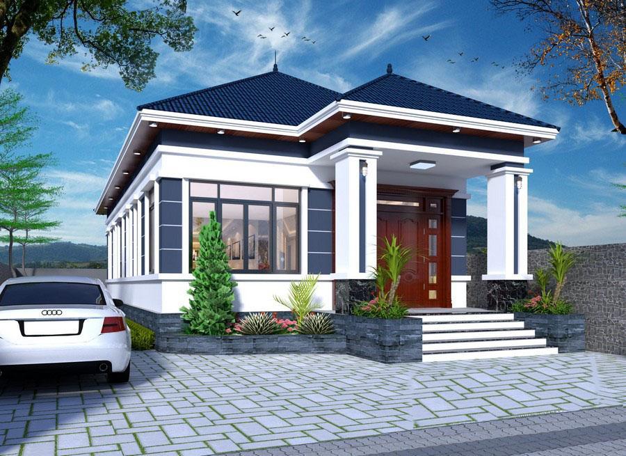 Hình ảnh phối cảnh 3D mẫu nhà cấp 4 diện tích 8x10m với mái ngói xanh than, tường trắng, cửa kính, sân trước lát gạch xám, ô tô đậu, cây cảnh trang trí