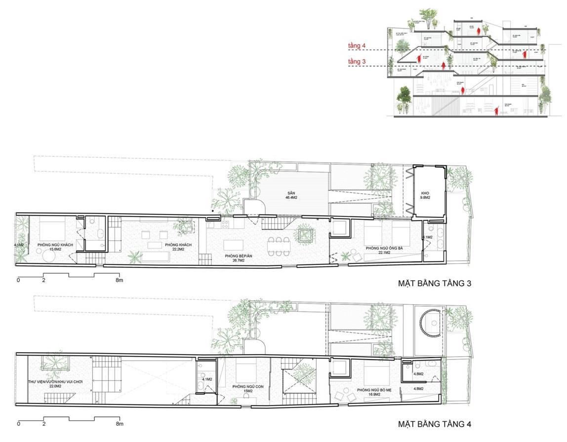 Hình ảnh bản vẽ mặt bằng tầng 3 và tầng 4.