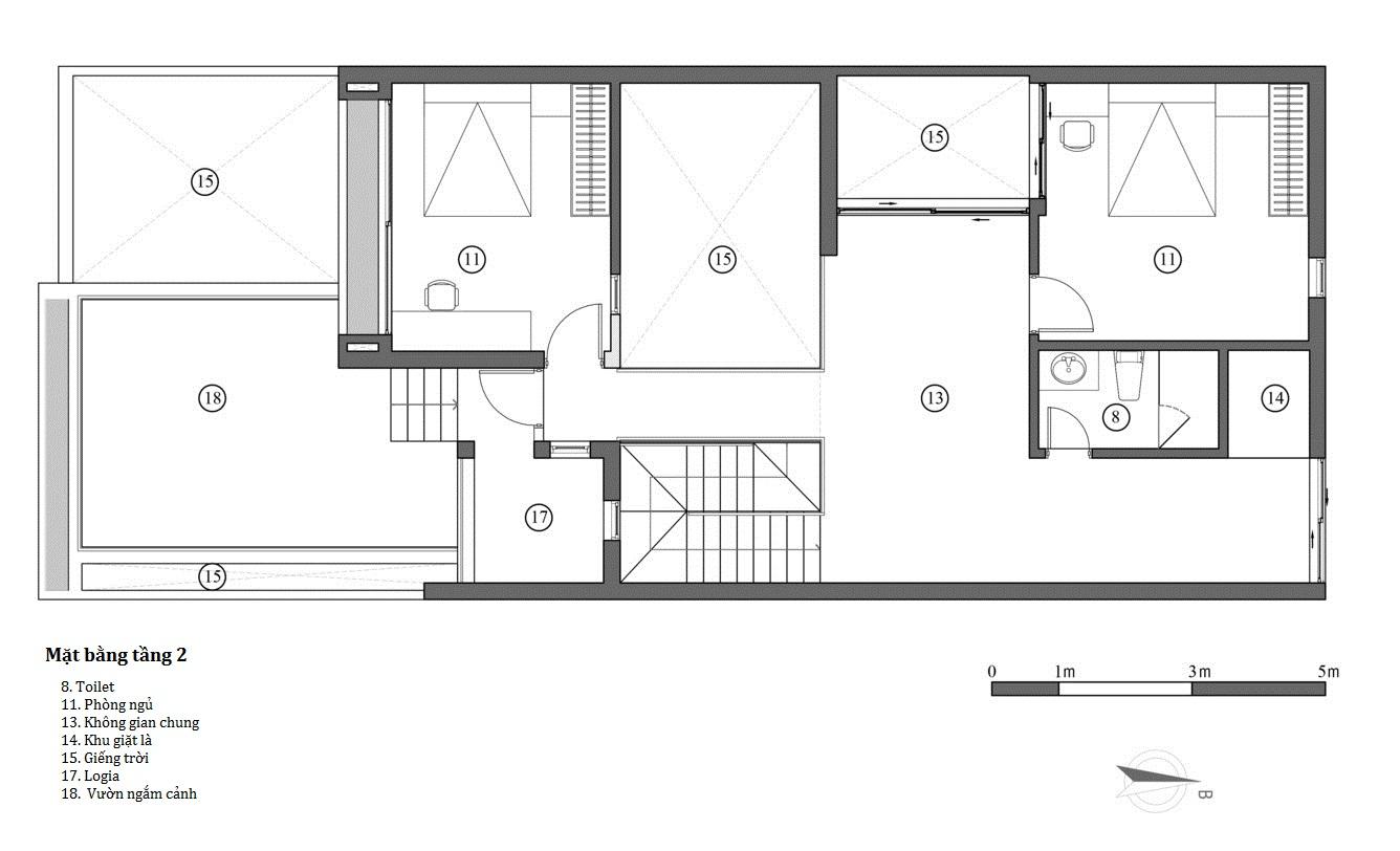 Hình ảnh bản vẽ thiết kế mặt bằng tầng 2.