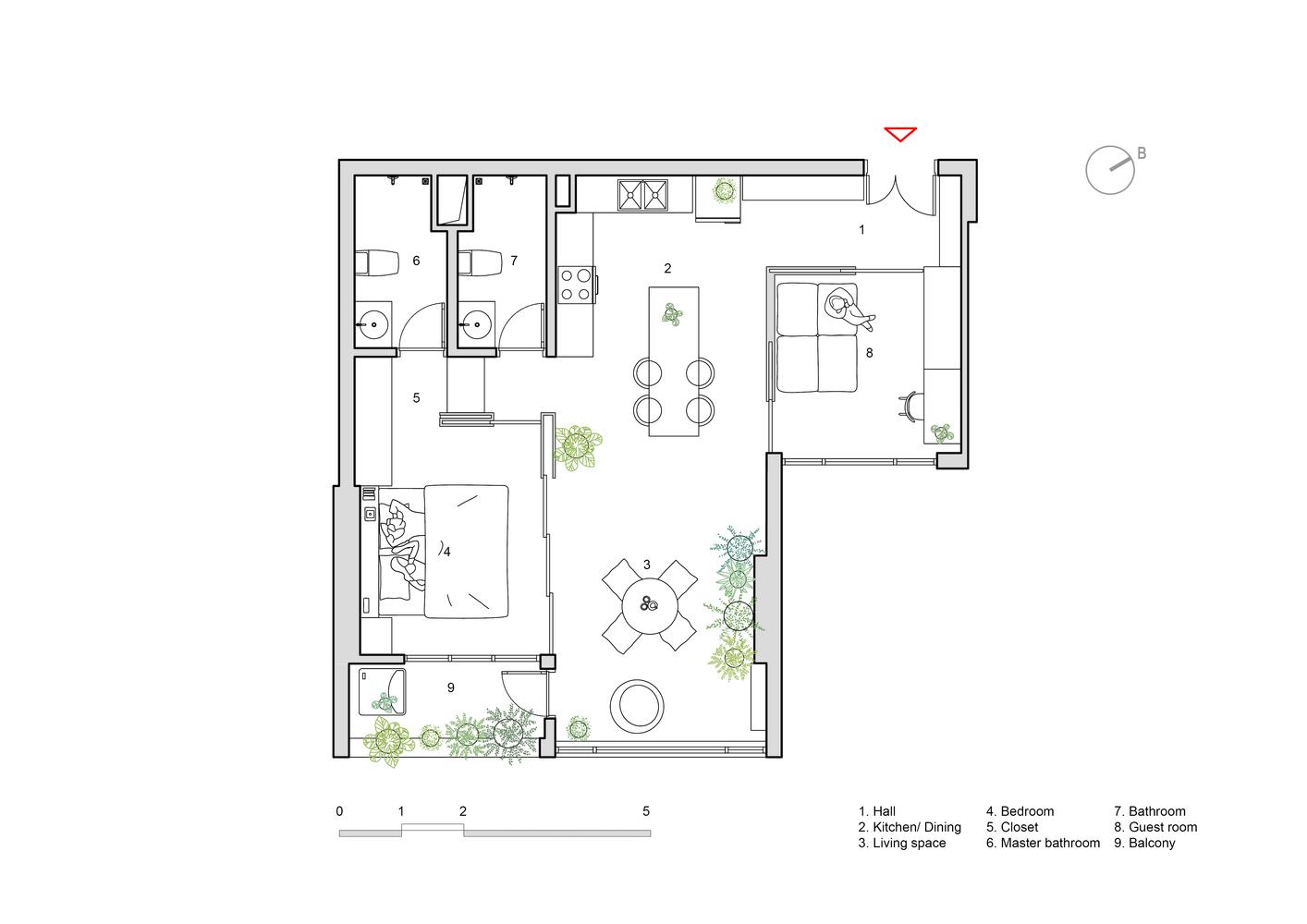 Hình ảnh bản vẽ thiết kế mặt bằng căn hộ 78m2 sau cải tạo.