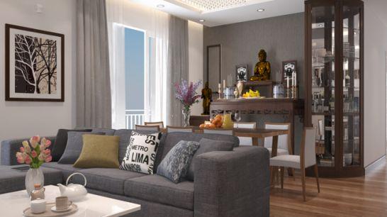 Hình ảnh phòng khách hiện đại với sofa màu xám bố trí liên thông với bàn ăn và gian thờ cúng cạnh khung cửa kính thoáng sáng