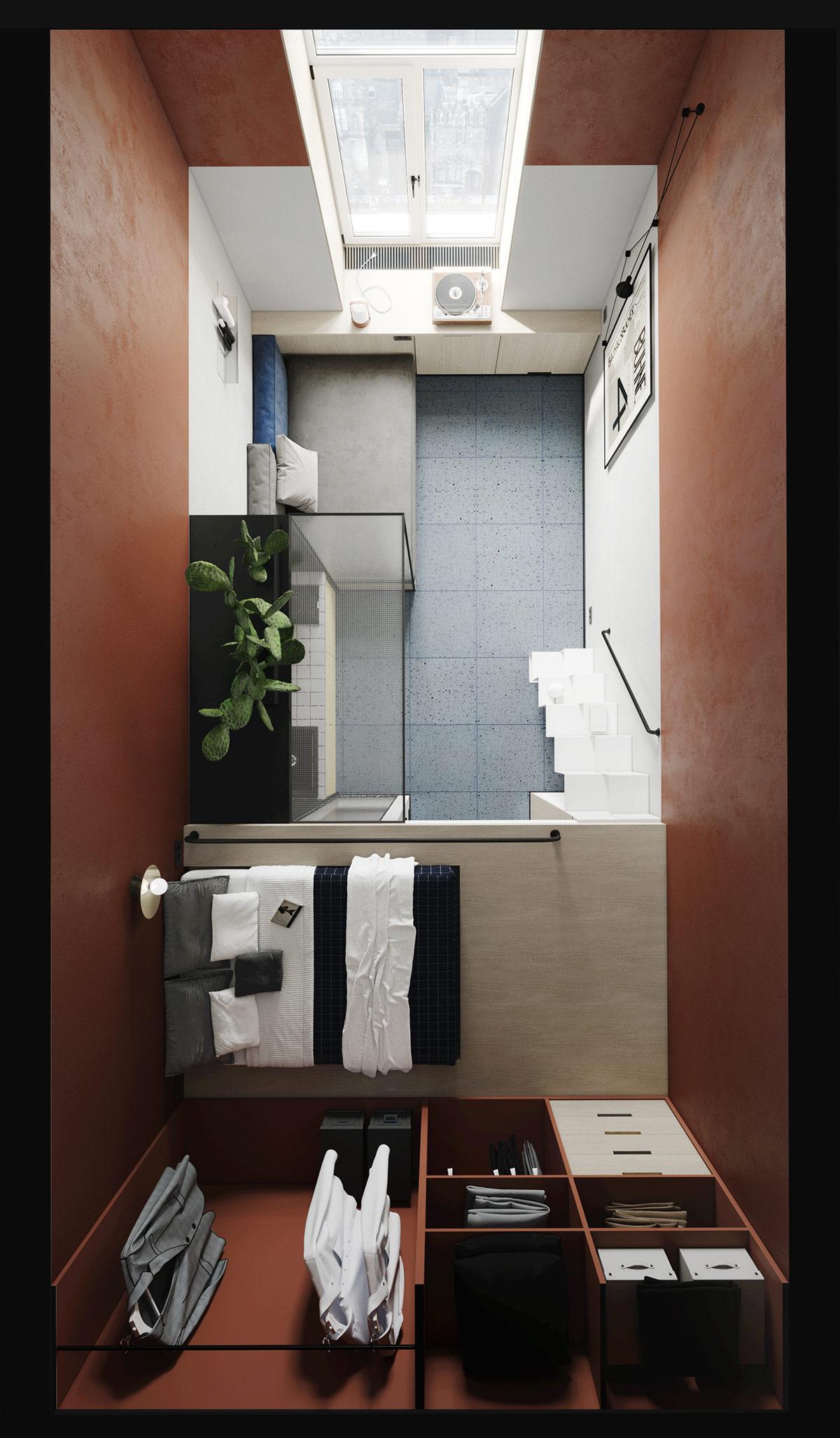 Hình ảnh toàn cảnh nội thất căn hộ studio nhìn từ trên cao.