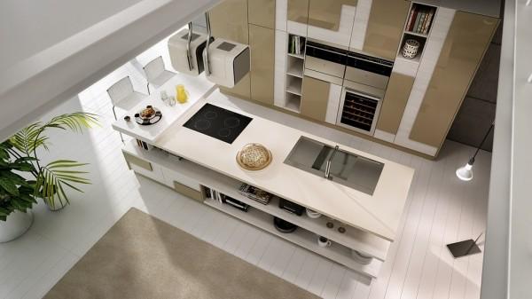 Hình ảnh phòng bếp hiện đại, gọn gàng với sắc trắng chủ đạo nhìn từ tầng trên xuống