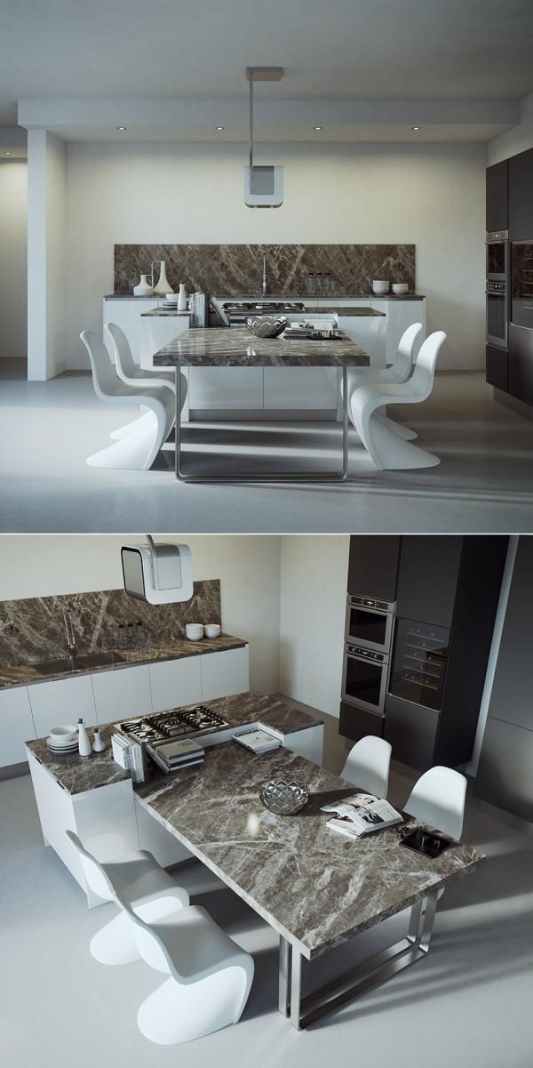 Hình ảnh mẫu phòng bếp phong cách nam tính với bàn đá cảm thạch, ghế ngồi màu trắng độc đáo