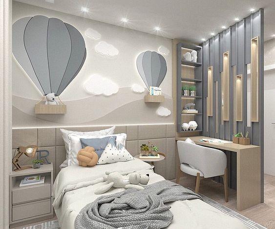 Hình ảnh phòng ngủ của con gái, sử dụng tông màu xám - trắng chủ đạo