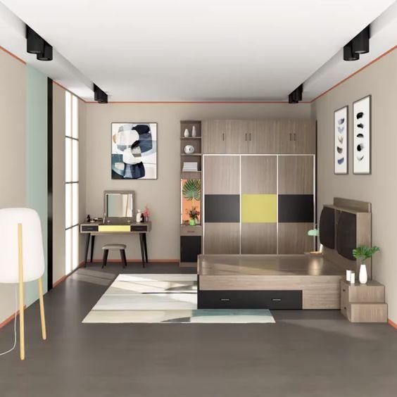 Hình ảnh mẫu thiết kế phòng ngủ dành cho bé trai với hệ tủ, giường bằng gỗ công nghiệp tông màu nhã nhặn