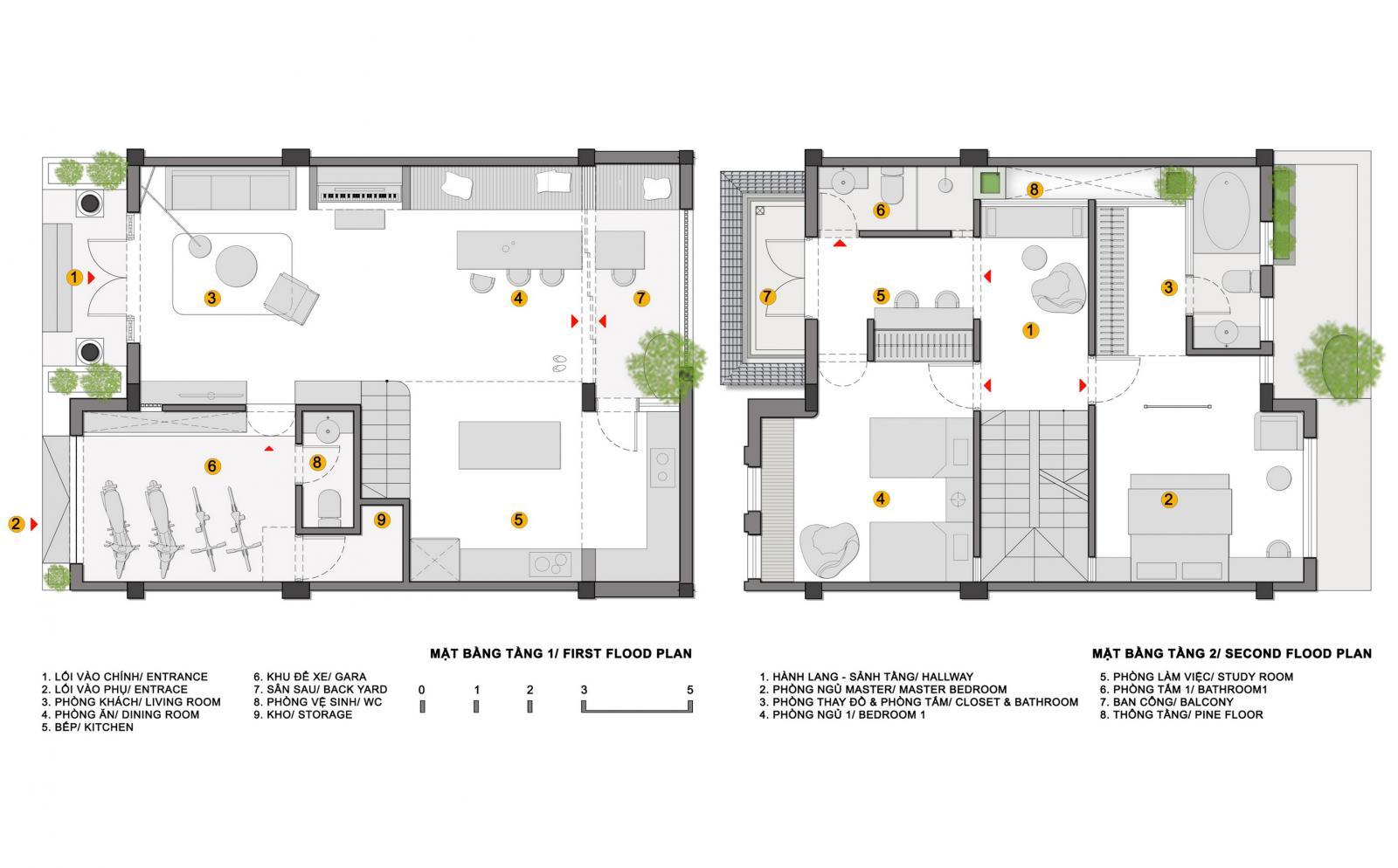 Hình ảnh bản vẽ thiết kế mặt bằng tầng 1 và tầng 2 nhà Mochi.