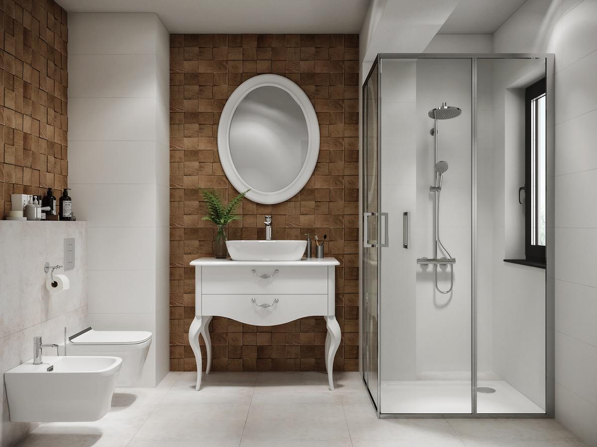 Hình ảnh phòng tắm phong cách Pháp lãng mạn với mảng tường ốp gỗ tự nhiên ấm áp