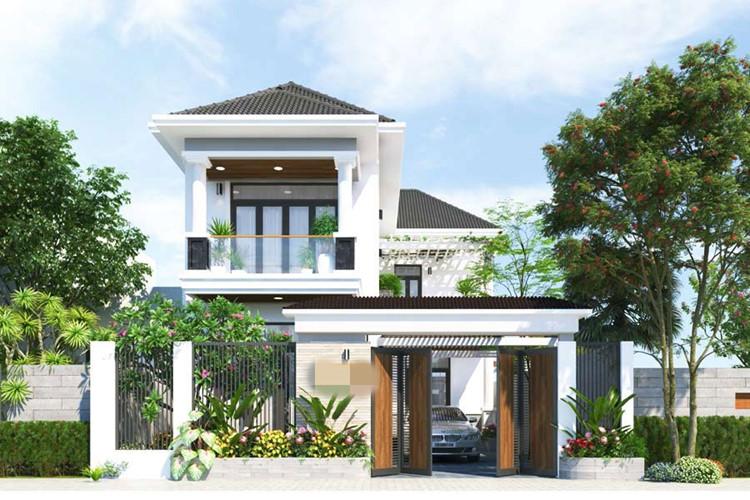 Hình ảnh mẫu nhà 2 tầng chữ L với cửa gỗ mộc mạc, nhiều cây xanh, gara ô tô ở tầng trệt