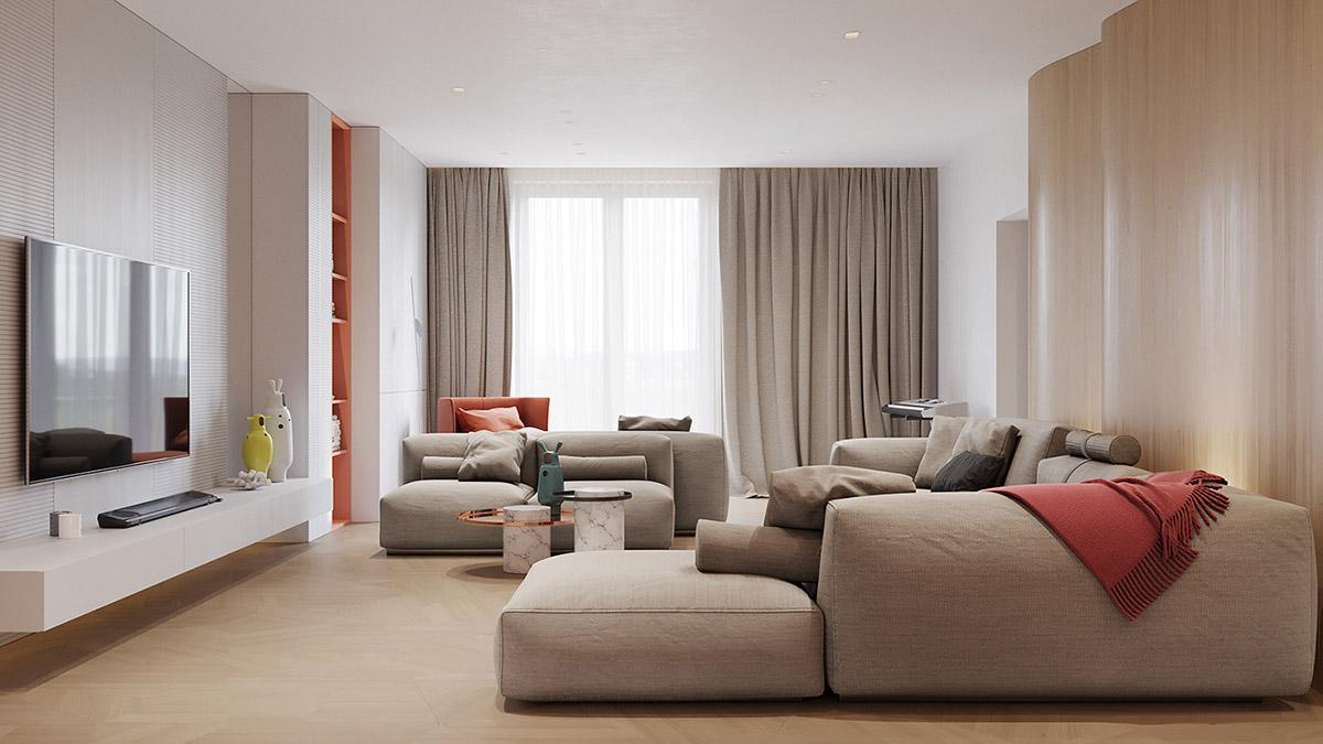 Phòng khách căn hộ Restro hiện đại với 2 bộ ghế sofa màu ghi sáng, tường ốp gỗ uốn lượn nhấp nhô, điểm nhấn màu cam
