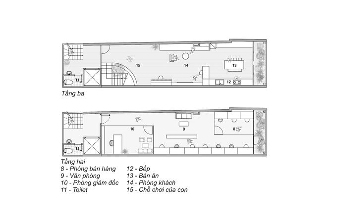 Hình ảnh bản vẽ thiết kế mặt bằng tầng 2 và tầng 3.