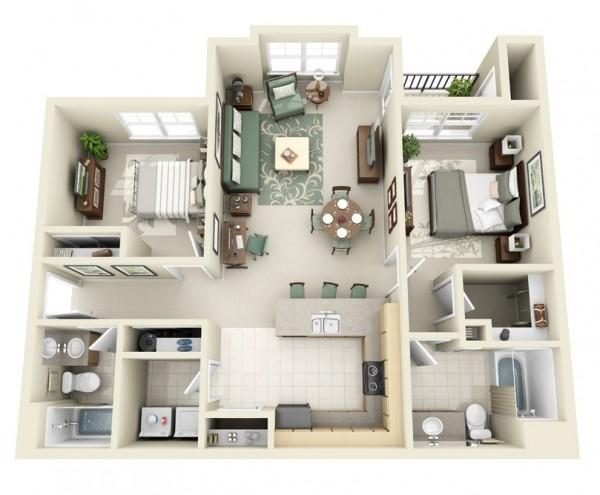 Hình ảnh phối cảnh căn hộ 2 phòng ngủ thoáng sáng với điểm nhấn màu xanh ngọc lam