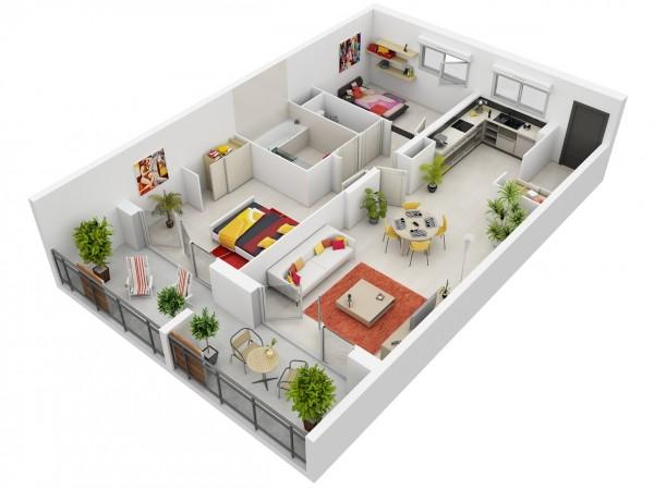 Mẫu 3D căn hộ 2 phòng ngủ sử dụng tông màu trắng chủ đạo