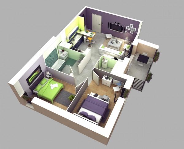 Hình ảnh phối cảnh mẫu căn hộ 2 phòng ngủ sử dụng màu xanh lá, oải hương trẻ trung, hiện đại
