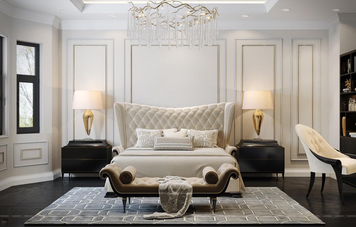 Hình ảnh toàn cảnh phòng ngủ phong cách thiên về cổ điển với các đường phào chỉ, nội thất uốn lợn, đèn chùm