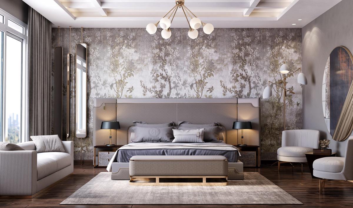 Hình ảnh phòng ngủ với giường nệm đặt ở trung tâm, ghế sofa cạnh cửa sổ kính, bên cạnh là ghế ngồi thư giãn, giáy dán tường, đèn trần hình tròn trắng xinh xắn