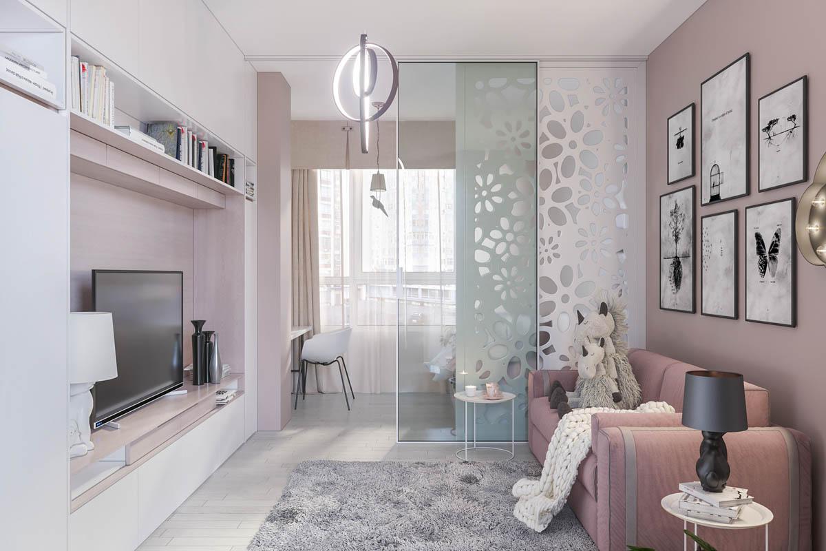 Hình ảnh một góc phòng của trẻ với sắc hồng phấn cho tường, ghế sofa, phối thêm sắc xanh bạc hà, xám, trắng.