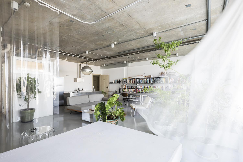 Hình ảnh toàn cảnh không gian sinh hoạt chung trong căn hộ 75m2 với tường, sàn bê tông xám, nội thất nhỏ gọn, mành trắng trong suốt phân chia không gian chức năng.