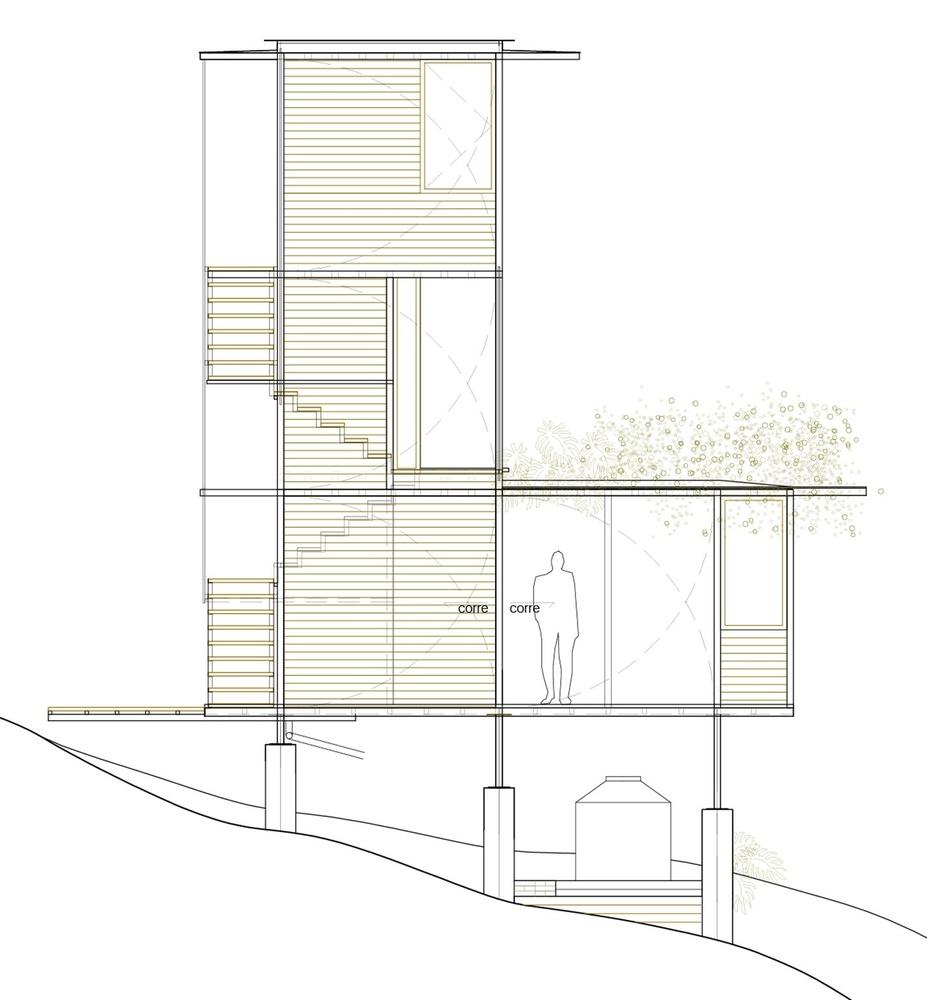 Hình ảnh phối cảnh tổng thể ngôi nhà gỗ.