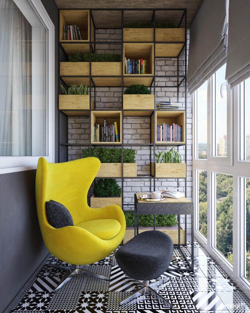 Hình ảnh ban công được bài trí thành góc đọc sách thư giãn với ghề màu vàng cam đặt trên sàn lát gạch bông đen - trắng, khung giá sách phong cách công nghiệp