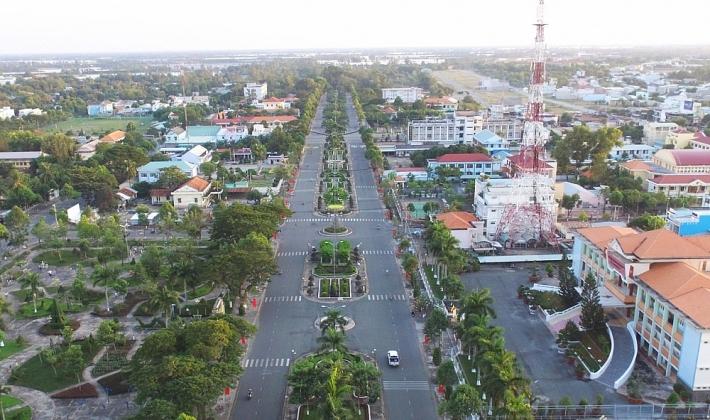 Hình ảnh huyện Văn Giang, Hưng Yên nhìn từ trên cao với khu dân cư thấp tầng xen kẽ nhiều cây xanh