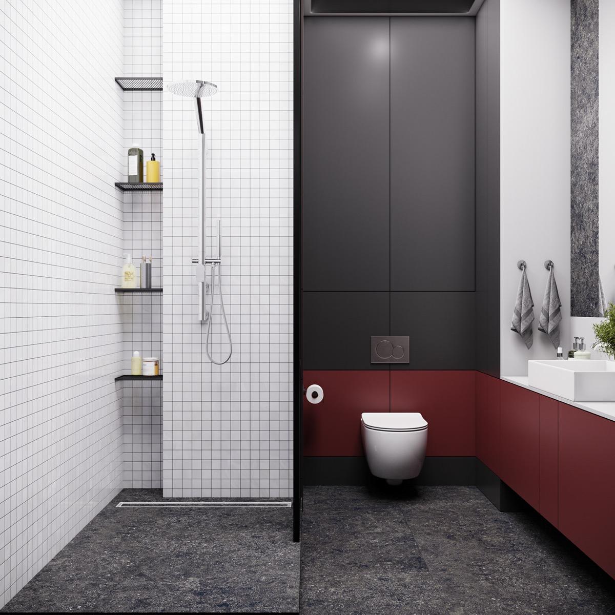 Hình ảnh phòng tắm hiện đại gồm hai khu khô - ướt tách biệt bằng cửa kính trượt.