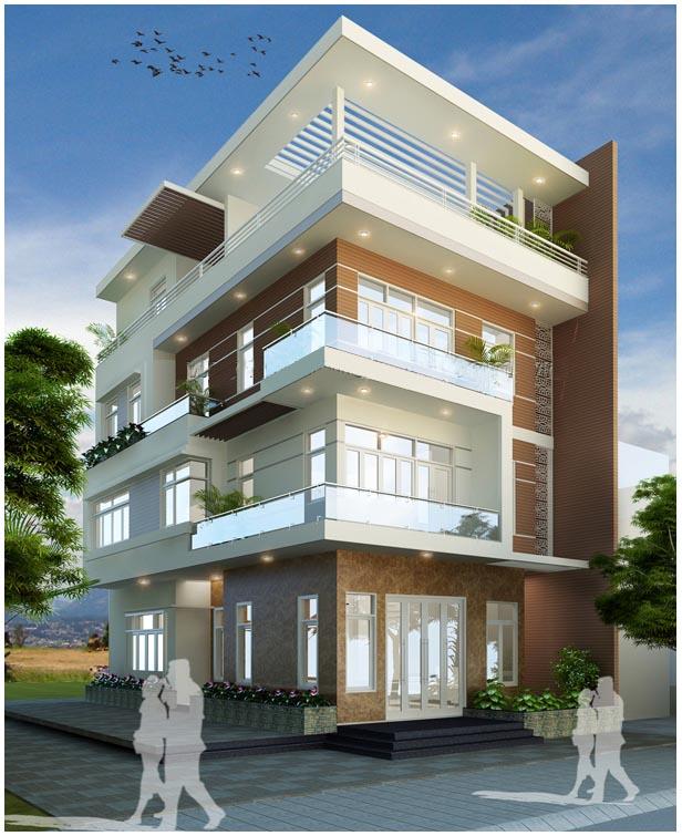 Hình ảnh phối cảnh mẫu nhà phố 4 tầng ấn tượng với ban công rộng rãi trồng cây xanh.