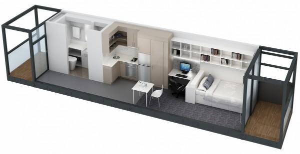 Hình ảnh phối cảnh căn hộ nhỏ với sắc trắng chủ đạo, sàn lát gỗ và trải thảm màu xám