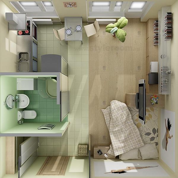 Hình ảnh phối cảnh căn hộ studio được chia làm hai không gian chính phân tách bởi sàn gỗ cho khu vực tiếp khách, ngủ nghỉ và sàn lát gạch cho bếp, phòng tắm.