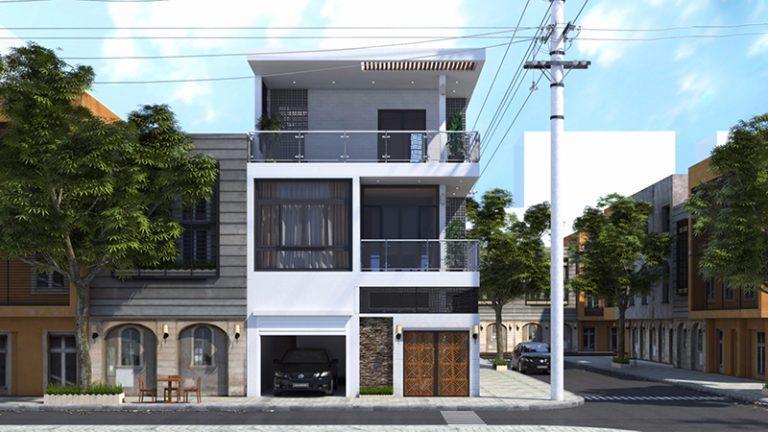 Hình ảnh phối cảnh mẫu nhà phố hai mặt tiền với tầng trệt là khu vực kinh doanh, gara ô tô