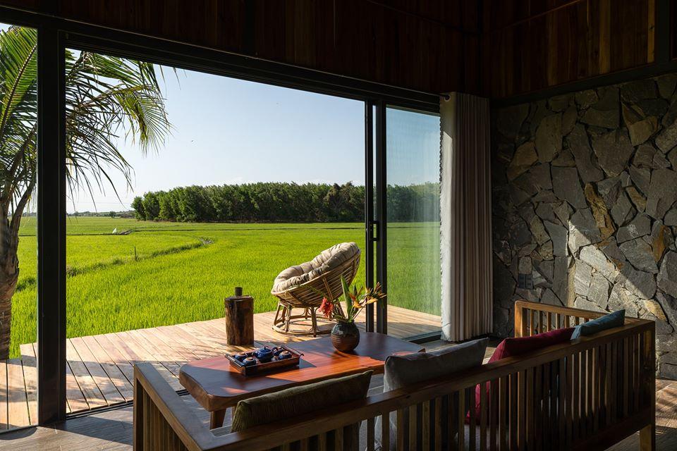 Hiên nhà ngập tràn nắng gió nhìn ra ruộng lúa, ghế ngồi thư giãn