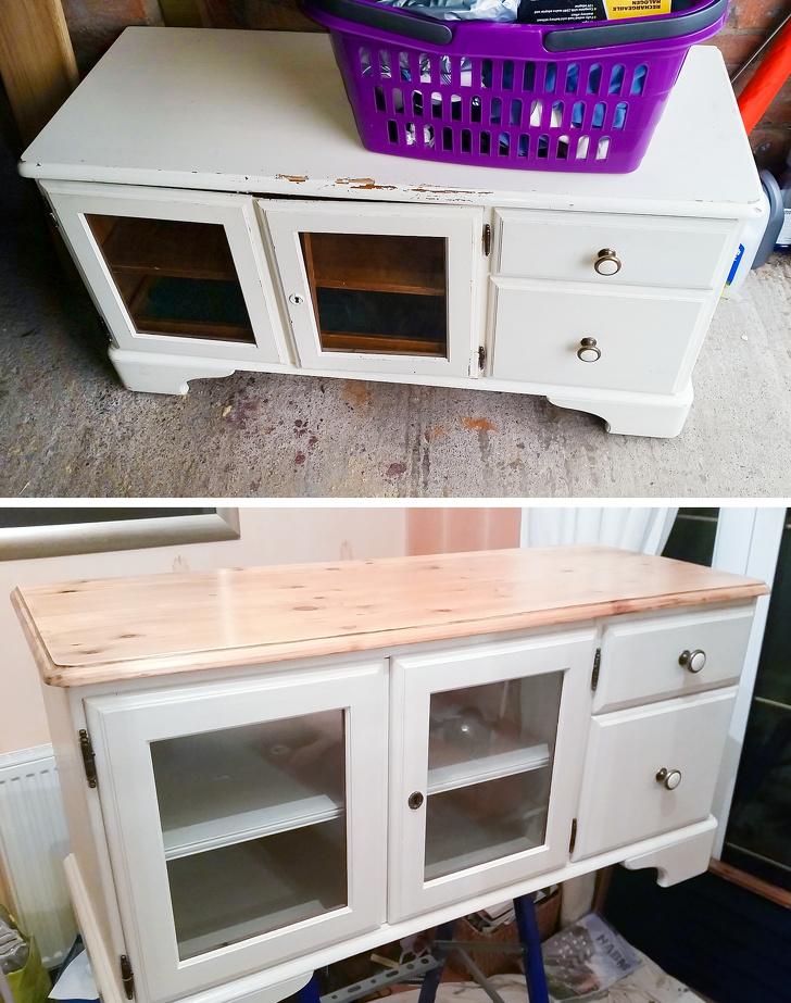 Hình ảnh tủ kệ màu trắng trước và sau khi được cải tạo thành kệ tivi