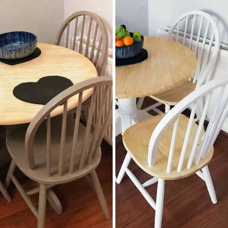 Hình ảnh bộ bàn ăn trước và sau khi được sơn màu trắng, chà nhám