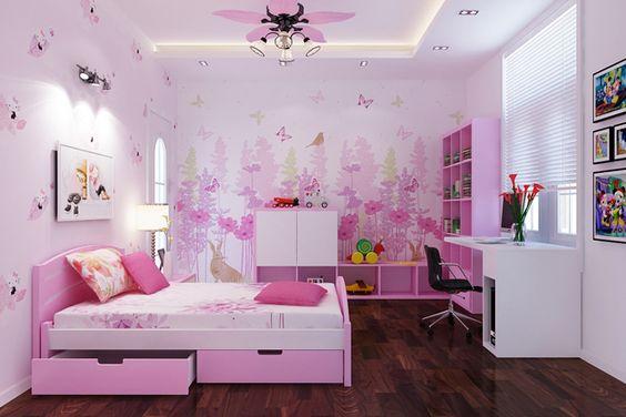 Hình ảnh phòng ngủ cho con gái với màu hồng trắng kết hợp, giường có ngăn kéo, đối diện là bàn học cạnh cửa sổ