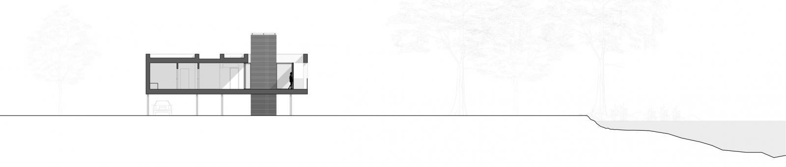Hình ảnh phối cảnh mặt cắt nhà sàn khung thép - góc 2