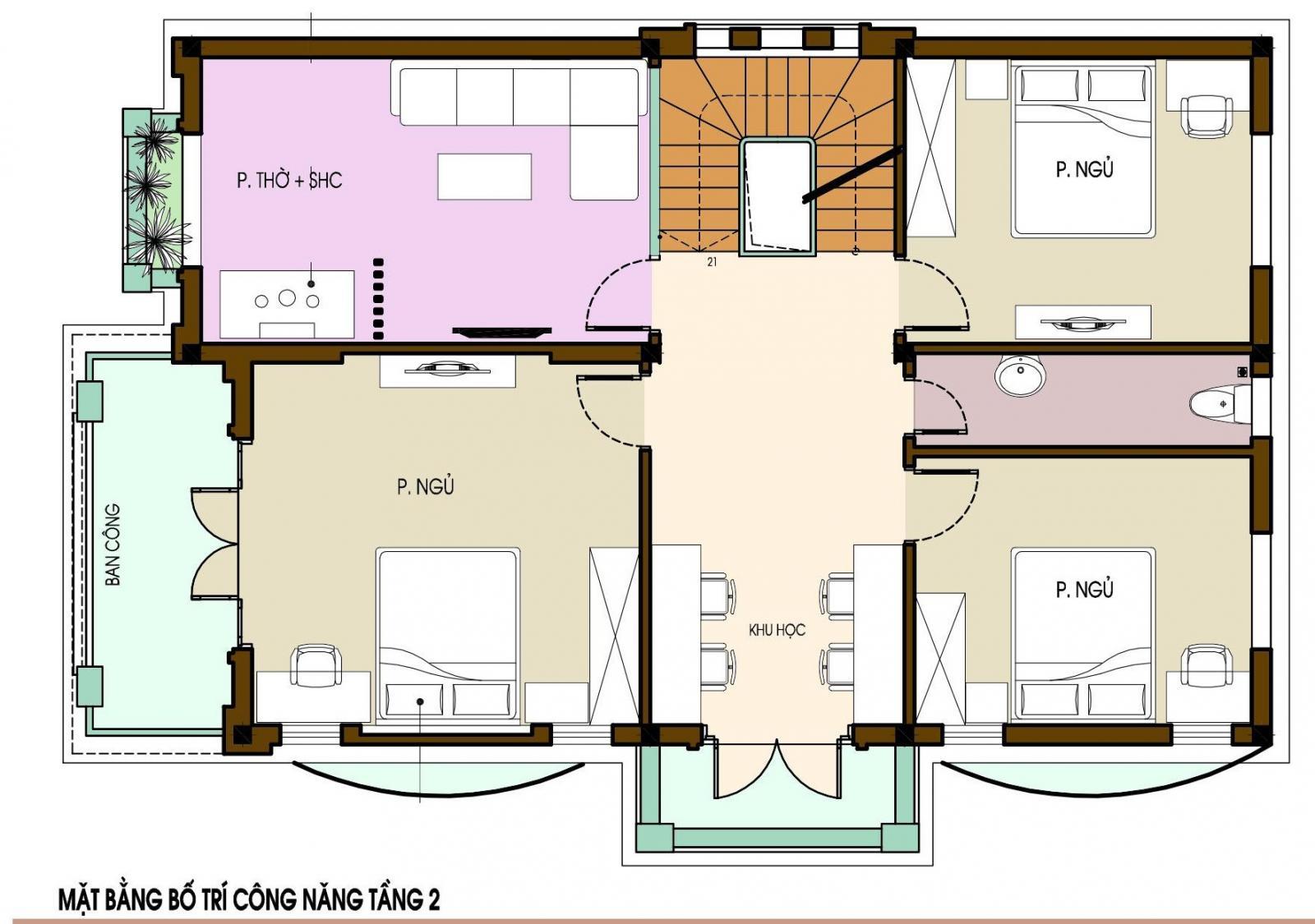 Hình ảnh bản vẽ thiết kế mặt bằng tầng 2 biệt thự tân cổ điển