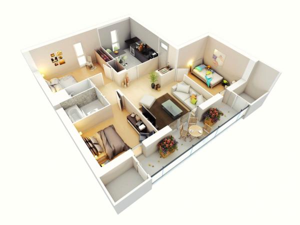 Hình ảnh cận cảnh mẫu căn hộ 3 phòng ngủ có ban công rộng rãi, nơi đặt bàn tròn, bồn hoa trang trí